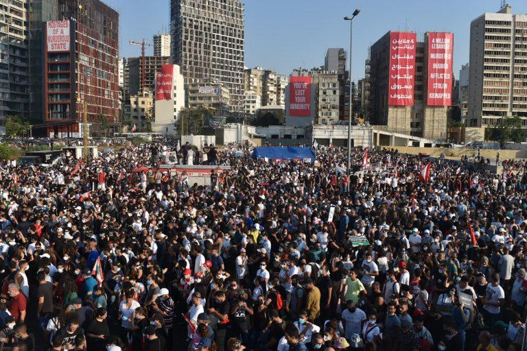 Protest, anniversary, explosion, Beirut, Lebanon
