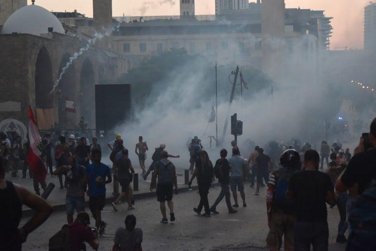 Protesters throw rocks, Beirut, Lebanon