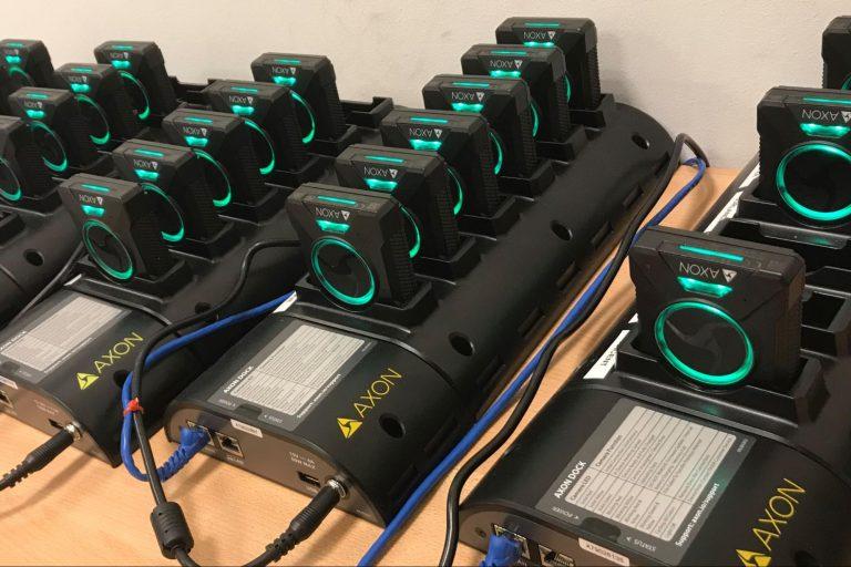 Axon body cameras, docked