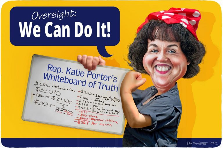 Katie Porter, Whiteboard, Rosie the Riveter
