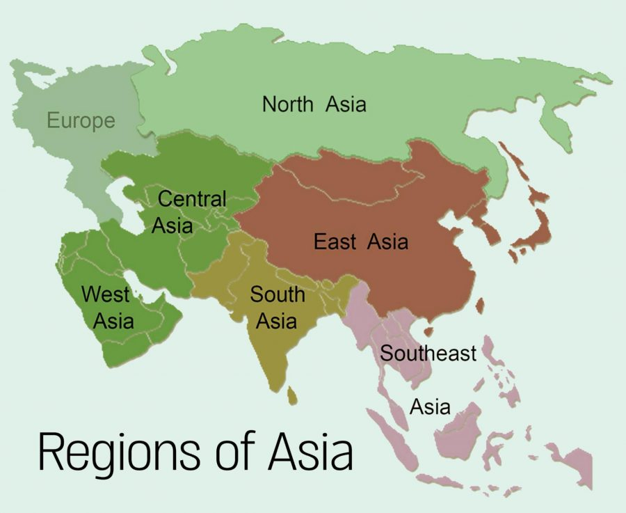 Map, Regions of Asia
