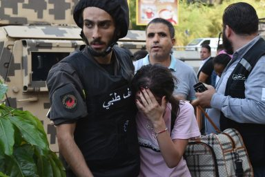 crying girl, Beirut Protests