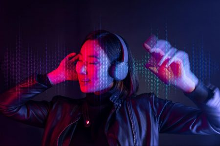 Woman, wireless headphone, listen, music